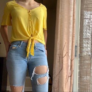Love, fire sz S yellow top